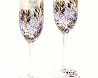 Set of 4 Hand Painted Champagne Glasses - Midnight Navy Blue and Gold Roses  - 50th Wedding Anniversary Toasting Flutes