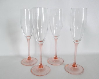 Luminarc France Champagne Flutes pink Stems Set of 4 Stemware Glasses