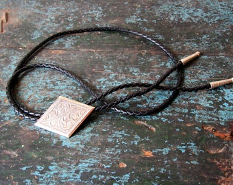 Vintage Bolo Tie Silver Metal Brown Stone Braided Leather Straps, SALE