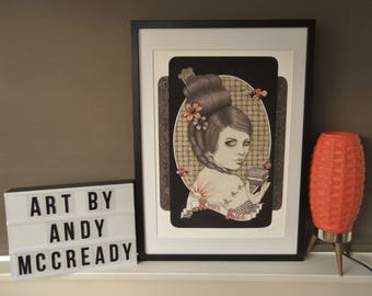 Giclee print by Andy McCready - 'KIWI ANA' - Limited edition, large, retro, orange, tattoo, New Zealand. Prints by giltandenvy on Etsy.