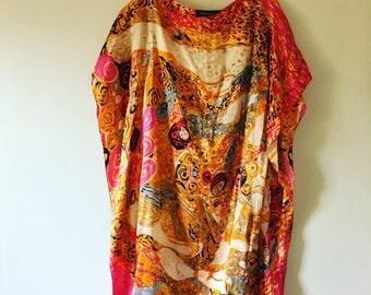 SUMMER SALE vintage.  Silk Artist Tunic Top • Boho Top • Freespirit Angel Sleeve Top