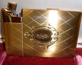 Vintage Cigarette Case Lighter Elgin American Magic Action Lighter Monogrammed Original Box and Sleeve 40s Art Deco Era