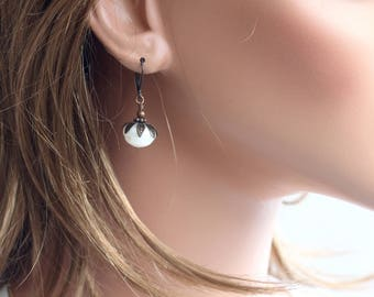 Fresh Water Pearls Earrings, Simple Earrings, Rondelle Pearl  Earrings, Pearl Leverback Earrings, Everyday Earrings, Copper Earrings