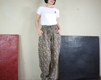 Casual Boho Funky Gpysy Casual Resort Black Floral Printed Light Cotton Straight Pants With Elastic Waist And 2 Pockets Sze10 To Size 14