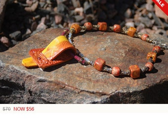 """Western Inspired Necklace, Belt Buckle Necklace, Clay Beaded Necklace, Polymer Clay Statement Jewelry,""""Buckle Down"""""""