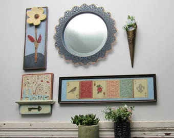 """wall gallery - """"My Eclectic Home""""- 5 pc vintage  wall art with mirror- feng shui"""