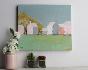 """original painting- """"Pretty in Pink""""-  12"""" x 14"""" Original Acrylic on canvas-millennial pink -gray"""