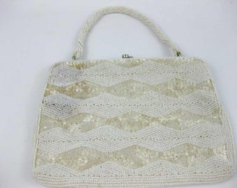 Vintage Vivant By Sarne Italian Beads Hand Beaded Ivory Handbag Clutch Japan