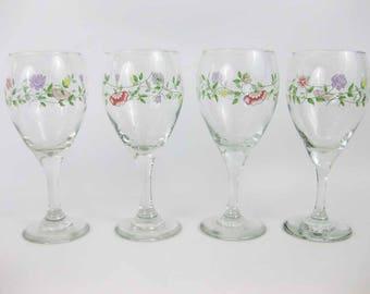 Johnson Bros. Summer Chintz Glass Goblets (4) 12 Oz Delicate Floral Sprays