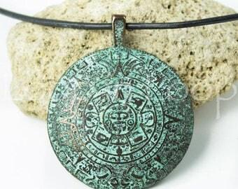 Aztec Mayan Calendar Pendant Mykonos Green Patina Copper Round Large Ancient Symbol Greek pendant, Circle Disk, 45mm25%OFF