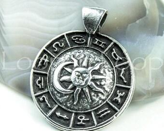 25%OFF Zodiac pendant bead Sun and Moon Horoscope Bohemian Pendants antique silver Astrology Mykonos Greek 35mm large metal casting findings