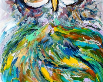Owl painting in oil palette knife abstract impressionism on canvas 10x20 fine art by Karen Tarlton