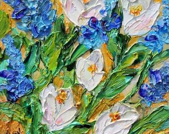 Spring Tulips painting original oil 6x6 palette knife impressionism on canvas fine art by Karen Tarlton