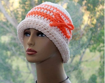 Womens Crochet Hat Cotton Flapper Hat  Cotton Summer Hat Chemo Hat  hat with brim Small Size  hat, womens brim hat, Small Size  hat