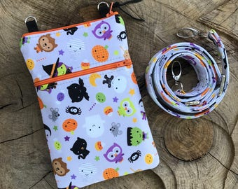 HALLOWEEN Phone Case or Epi-Pen Case with Wristlet and/or Cross Body Shoulder Strap  Zipper Closure Glow in the Dark