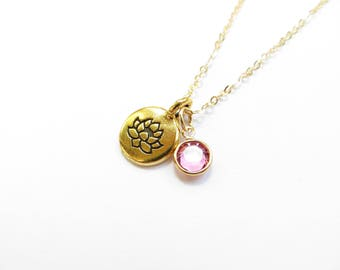 Lotus Birthstone Necklace 14kt Gold Fill Swarovski Crystal Necklace, Bridesmaids Gift, October Birthstone, Personalized Necklace, Custom