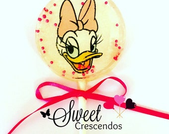 Daisy the Duck Inspired Lollipops- Hard Candy Lollipop- Daisy Birthday- Party Favors