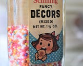 SOLD Schilling McCormick FANCY DECORS Cake Cookie Cupcake Sprinkle Bottle Jar Baking Cooking Kitchen Spice Crystal Sugar Party Mix Pink Blue
