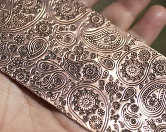 Copper Textured Metal Sheet  Paisley Pattern 22g - 6 x 2 1/4 inches - Bracelets Pendants Metalwork