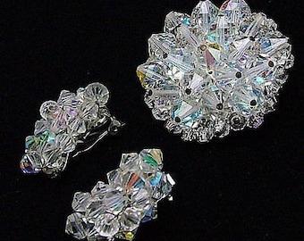 Vintage Set Brooch & Earrings Crystal Aurora Borealis Cluster Faceted Beads