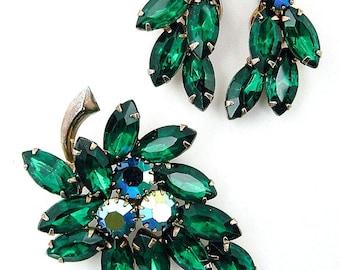 Vintage Juliana Rhinestone Brooch and Earrings Set AB & Dark Green Navettes Demi Parure