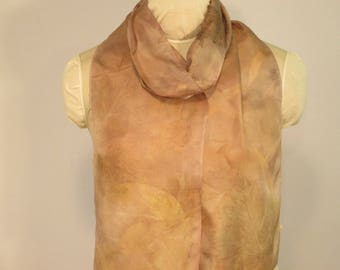 "Ecoprint Scarf - Natural Dye Botanical Print - Peony Maple Willow - HA8111722  - 8""x70"" (20 x 177cm)"