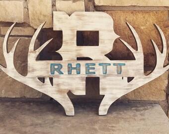 RHETT - Rustic antler name sign