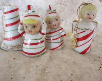 Vintage Christmas Ornaments Red Striped Ceramic Figurine Bells Adorable 1950's Kitsch Made in Japan
