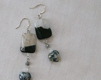Black Agate and Moss Opalite Heart Earrings on Silver, Black, Gray, Cream, Silver