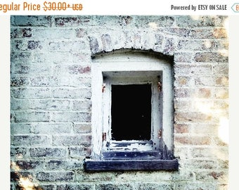 Window Photo, Farmhouse Decor, Rustic Home Decor, Old Window Photo, Country Home Decor, Rustic Brick Wall