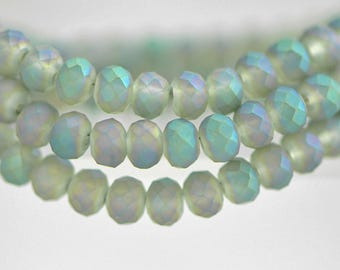 145pcs Crystal Glass Rondelle Faceted Tiny beads 2x3mm, Matte Green (#BZ03-57)