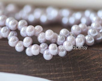 Crystal Glass Seed Beads 6mm, Sparkly Lavender Grey (GM018-4)/ 95 beads full strand