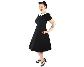 Vintage Inspired Black and White Pointy Collar Dress