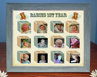 Babys First Year Framed Digital Photo Gift |Custom Photo Gift