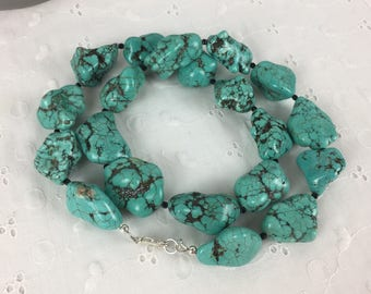 Long Chunky Turquoise Necklace, Turquoise Nuggets Necklace, Statement Necklace, Chunky Necklace Gemstone Necklace Fashion Jewelry