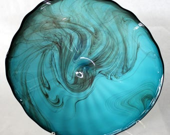 Beautiful Hand Blown Glass  Wall Platter Bowl  7696 SECOND