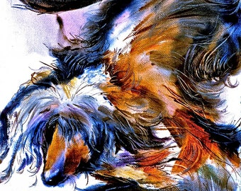 Black and Tan Afghan Hound Beautifull and gracefull Watercolor dog prints SIGNED by the Artist Carol Ratafia DOUBLE MATTED to16x20