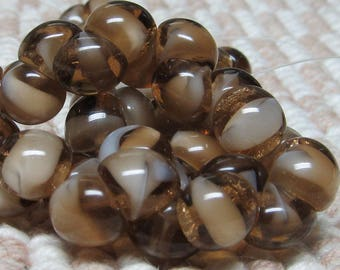Czech Glass Beads 9 X 8mm Smooth Shiny Brown and Carmel Buttons - 30 Pieces