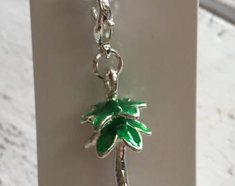 SALE Palm Tree Charm with Lobster Claw Clasp