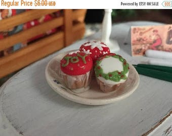 SALE Miniature Christmas Cupcakes, Set of 3, Style 1, Dollhouse Miniature, 1:12 Scale, Miniature Food, Mini Cupcakes, Dollhouse Food