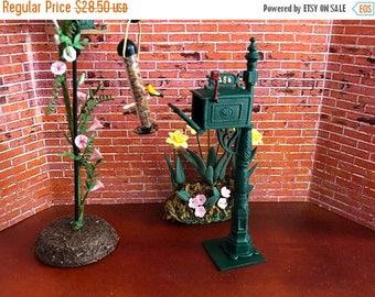 SALE Miniature Mailbox, Green Metal Mailbox, Dollhouse Miniature, 1:12 Scale, Dollhouse Accessory, Home & Garden Decor, Shelf Sitter, Topper