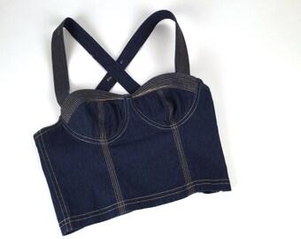"Vintage 90s Bustier, Versace Jeans Couture, Blue Denim, Metallic Gold Topstitching, Cotton, Cross Strap, Side Zipper, XS, B 28-30"", Like New"