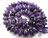 Semiprecious Beads, Amethyst (African) Smooth Roundel (Quality C) / 8.50 to 15 mm / 36 cm / AMET-038