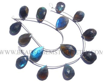 Semiprecious Stone, Labradorite Faceted Pear (Quality AA) / 14.5x17.5 to 17x25 mm / 18 cm / LAB-099