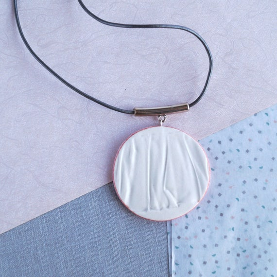 RUCHED No18 geometric circle pendant necklace porcelain necklace silver white blush pink necklace long geo necklace artisan necklace