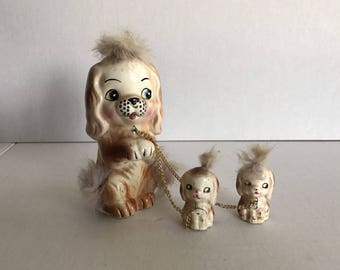 Vintage Cocker Spaniel Furry Dog Figurine With Pups Ceramic Bone China
