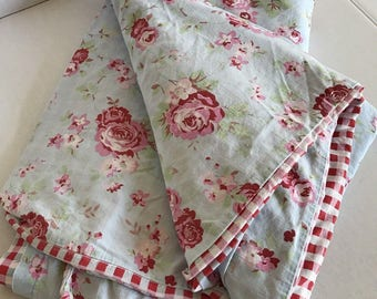 VTG Homemade Twin Size Shabby Rose Plaid Duvet Cover And Sham...Use Or Cutter
