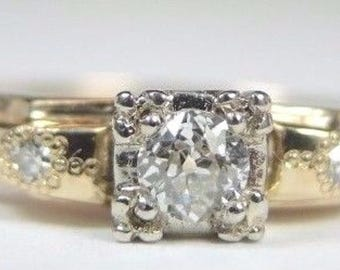 Antique Art Deco Vintage Diamond Yellow and White Gold Engagement Ring | RE:969