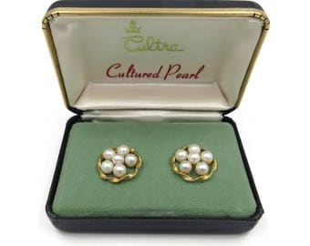 Cultured Pearl Gold Filled Earrings - Cultra Earrings, 12K Gold Filled, Pearl Earrings, Vintage Earrings