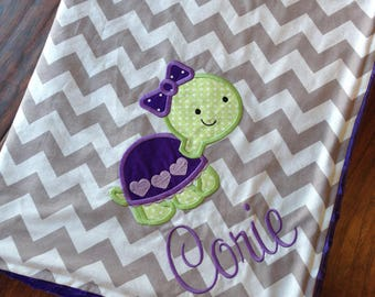 Turtle Baby Blanket- Personalized Baby Blanket- Minky Baby Blanket- Chevron Minky Blanket- Nursery Blanket